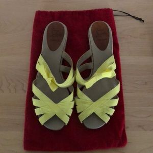 Size 41 yellow Louboutin sandals with 1 inch heel
